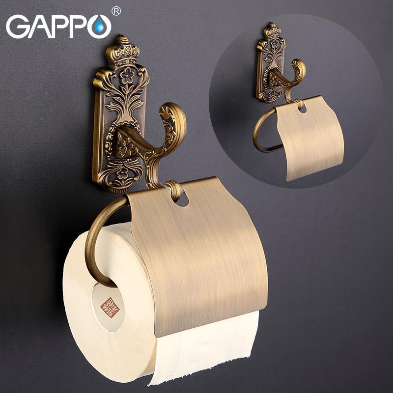 Gappo in lega di zinco di carta rotolo titolari WC coprire titolari gancio di carta in acciaio inox Coperchio servizi igienici bagno Hardware asciugamani T200425