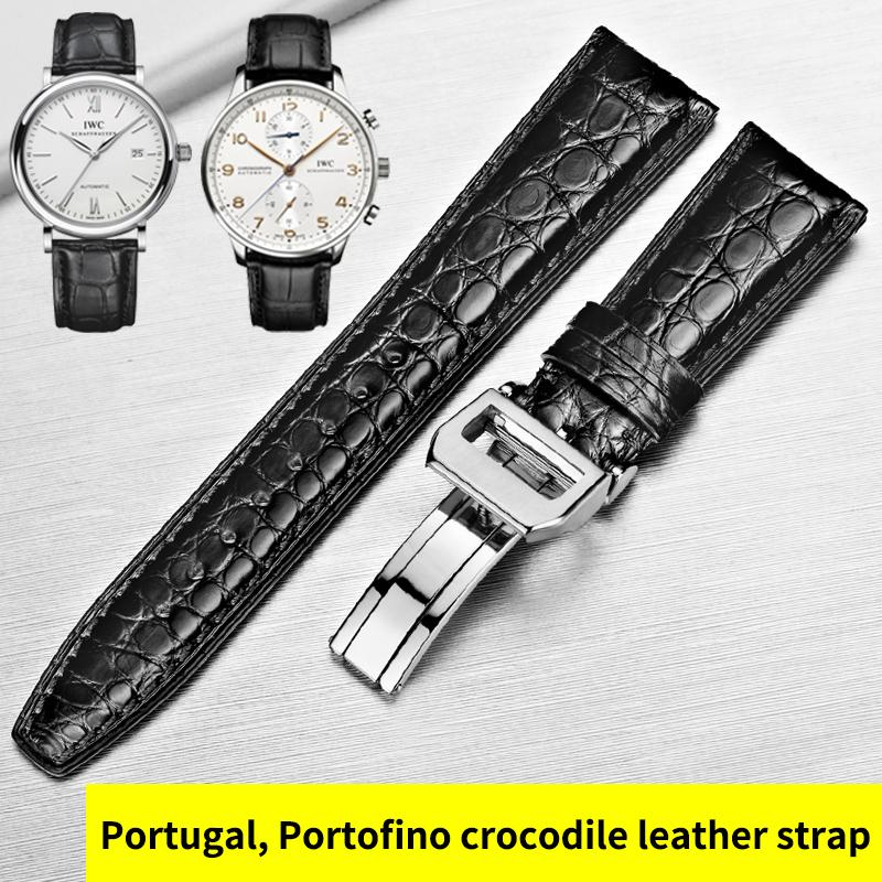 حزام جلد التمساح Howk بديلاً Iwc حزام جلد طبيعي برتغالي 7 Portofino Pilot Series Watch Strap T190708
