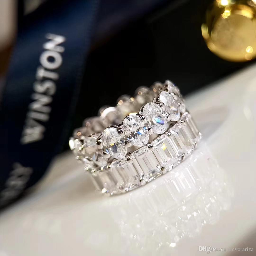 Weeding Rings Winston 5A Diamond S925 Sterling Silver for Women Christmas New Year Gift Present