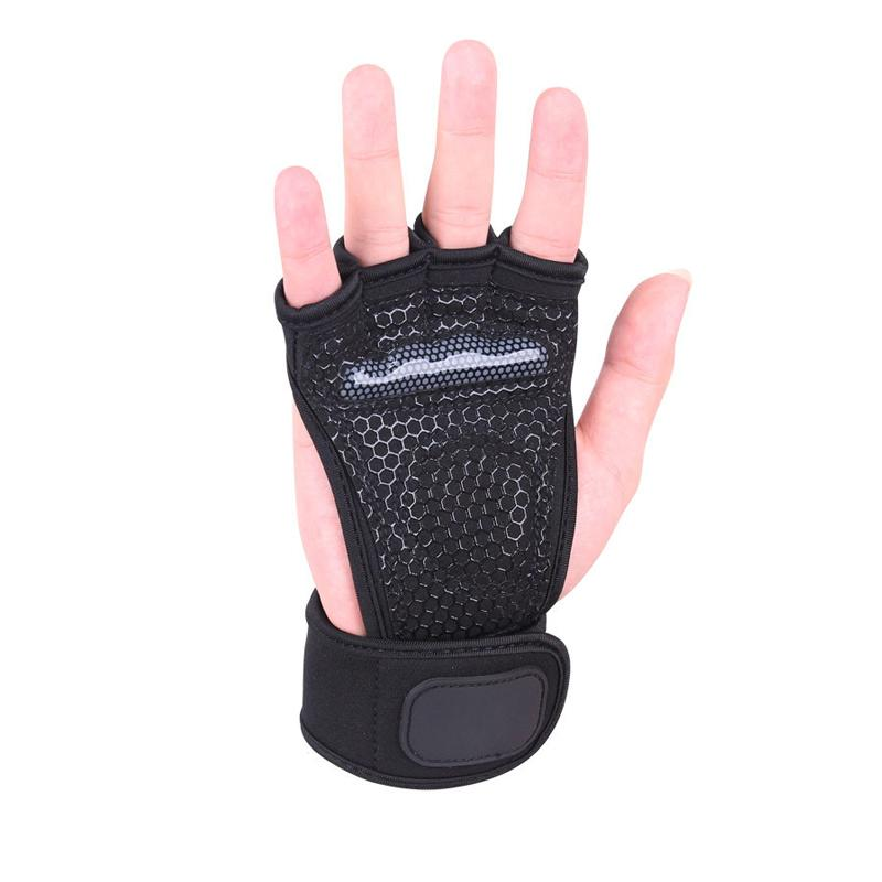 Weight lifting gloves half finger backless breathable fitness dumbbell training palm guard sports glove M L XL black