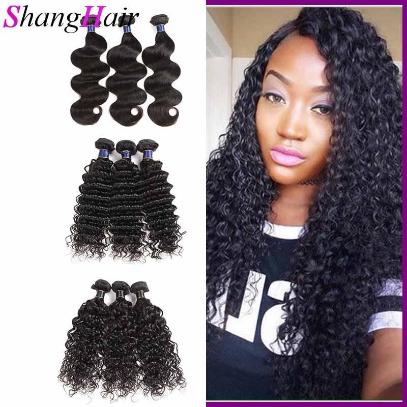 O cabelo da Malásia brasileira tece onda de corpo reto 3/4 Bundles Extensão de cabelo humano WeFts onda corporal 50g / pcs extensões de cabelo barato