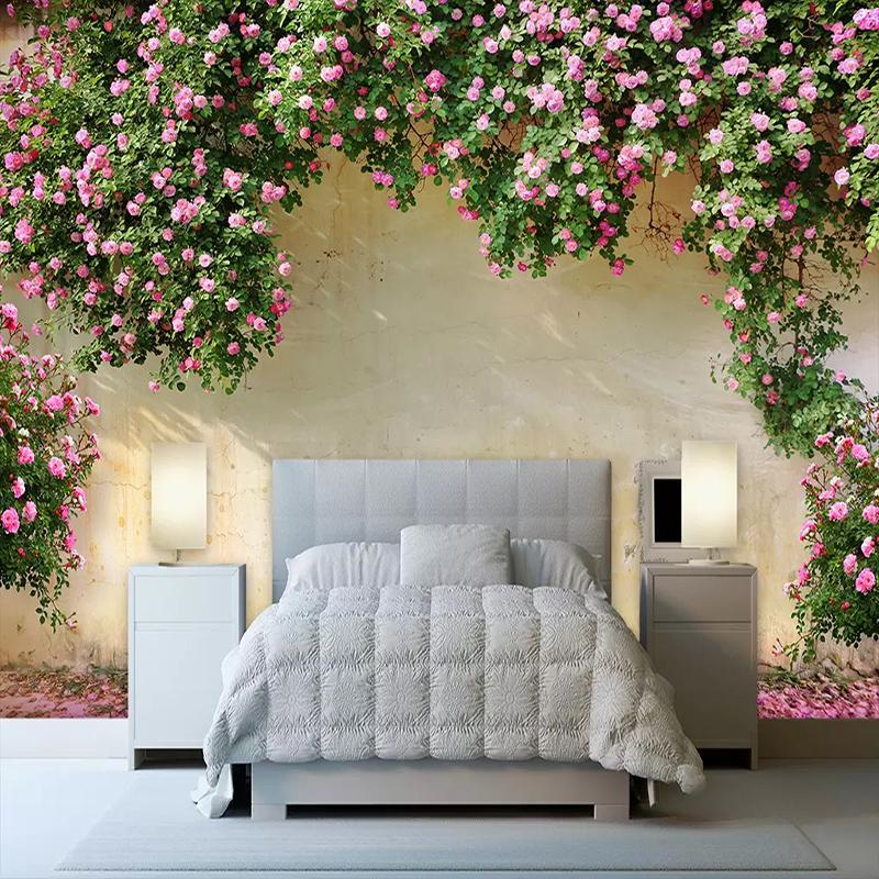 Custom Photo Wall Paper Painting 3D Pink Flower Vine Backdrop Wall Murals  Wallpaper For Living Room Kitchen Wall Home Decoration Black Wallpaper Blue  ...
