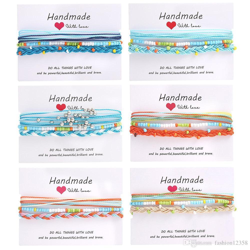 New Handmade Amizade pulseiras Ajuste com os cartões impermeável ajustável tecidos string Ocean Wave Pulseiras com contas Praia Boho Jóias