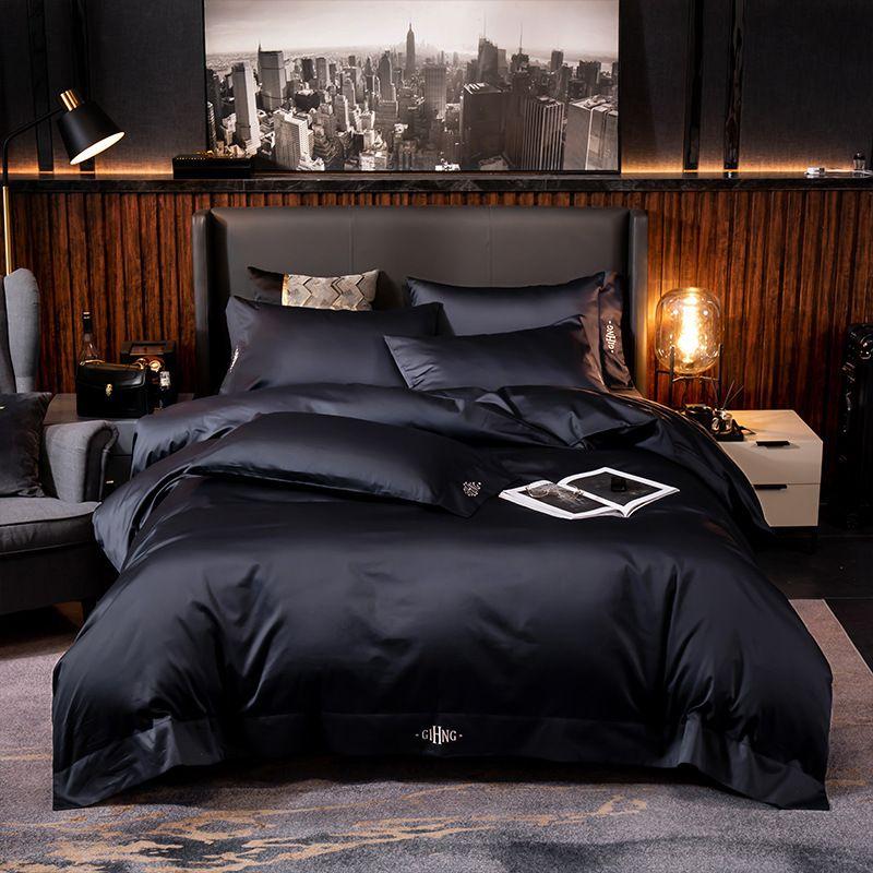 홈 섬유 이집트 코튼 침구 세트 순수한 색상 침대 세트 이불 커버 침대 시트 하이 엔드 프리미엄 킹 퀸 사이즈 T200608 자수