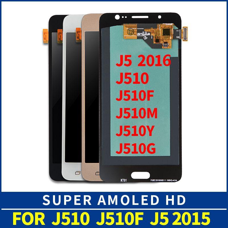 Reemplazo de LCD para Samsung Galaxy AMOLED J5 2016 J510 J510F J510FN J510M Pantalla LCD Pantalla táctil Digitalizador Control de brillo