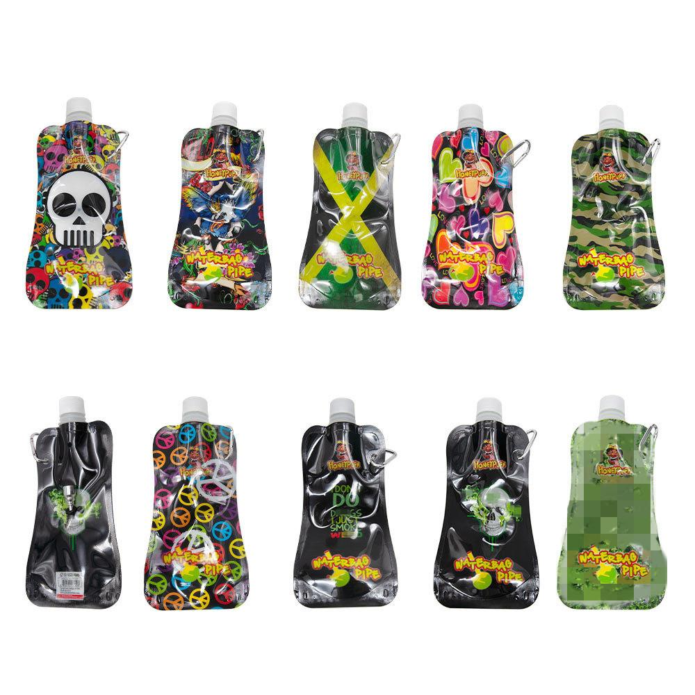 Portable Water Bag Pipe Plastic Camouflage Bongs Percolators Sucking Jelly Pipes Dry Herb Packaging Smoking Tobacco 10 Styles