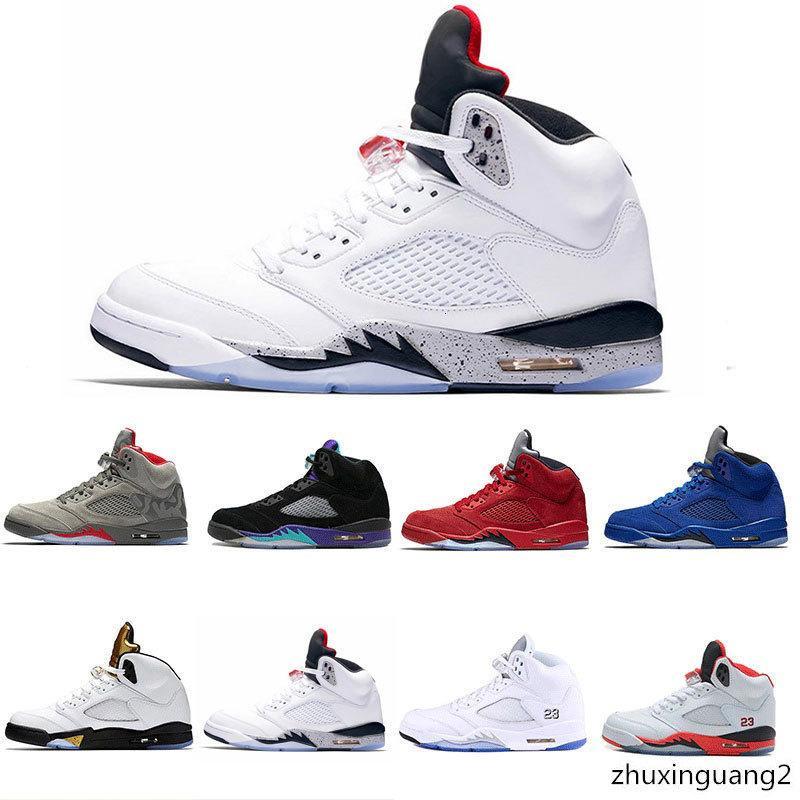2018 5 nouveaux hommes chaussures de basket-ball du ciment blanc OG chaussures de sport baskets métalliques noir chaussures discount Metallic Gold Livraison gratuite
