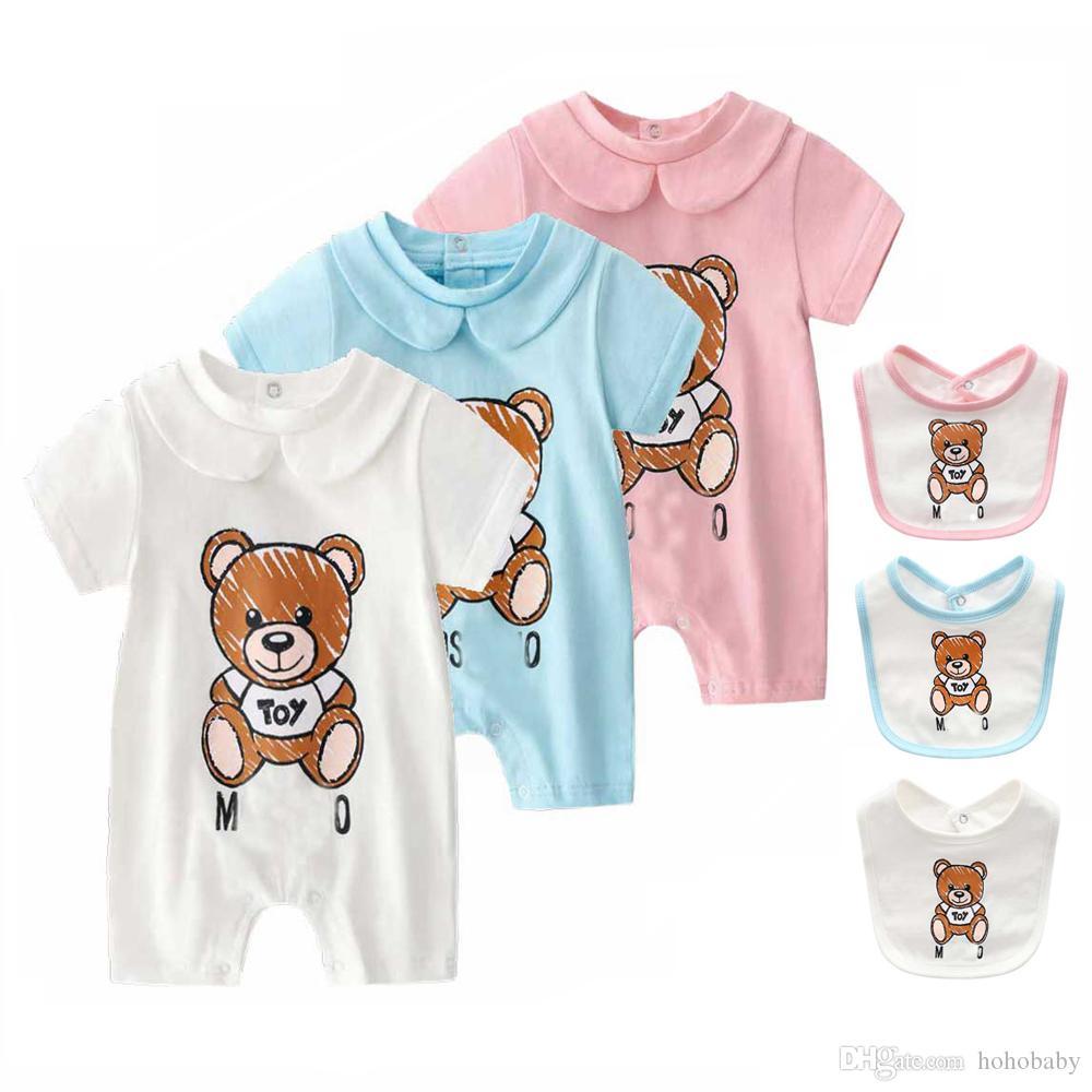100٪ القطن الخالص طفلة رومبير الصيف بأكمام قصيرة الكرتون الحيوان بذلة طفل لطيف بوتيك ملابس للطفل الملابس