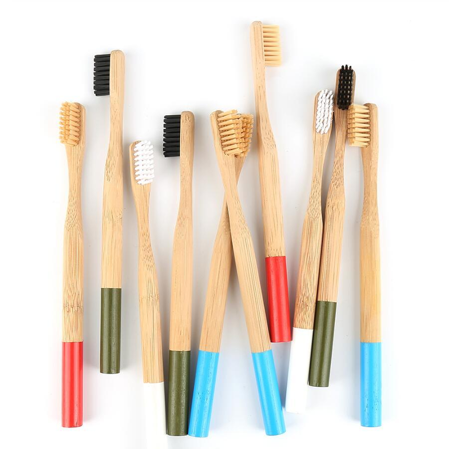 فرشاة أسنان أطفال الخيزران فرشاة أسنان خشبية خشبية ذات مقبض خشبي ناعم أسنان البالغين نظيفة فرشاة أسنان صديقة للبيئة