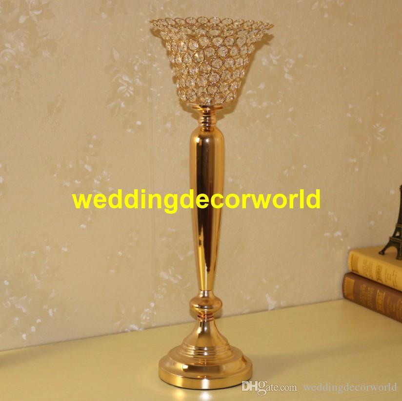 Verre cristal pièce maîtresse de mariage décoration haut métal bougeoir bougeoir fleur vase stand decor355