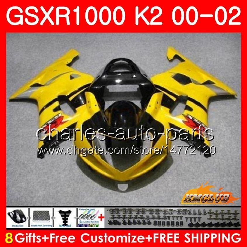 Frame For SUZUKI GSX-R1000 GSXR1000 K2 glossy yellow GSX R1000 00 02 Bodys kit 14HC.6 GSXR-1000 GSXR 1000 00 01 02 2000 2001 2002 Fairing