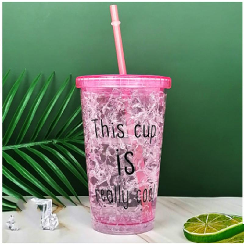 Creative products manufacturers direct summer children's plastic straw cup gel double layer cooling broken ice cup