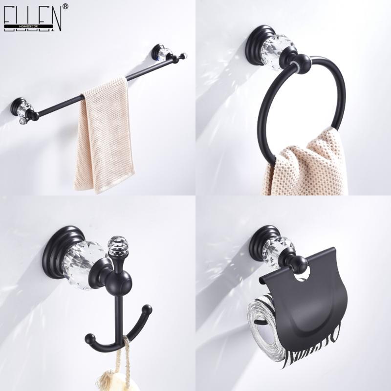 Accessori da bagno Set Accessori per il bagno Accessori per la carta igienica Portaglietta Asciugamani Show Anello Robe Gancio nero Crystal Hardware ELB85400