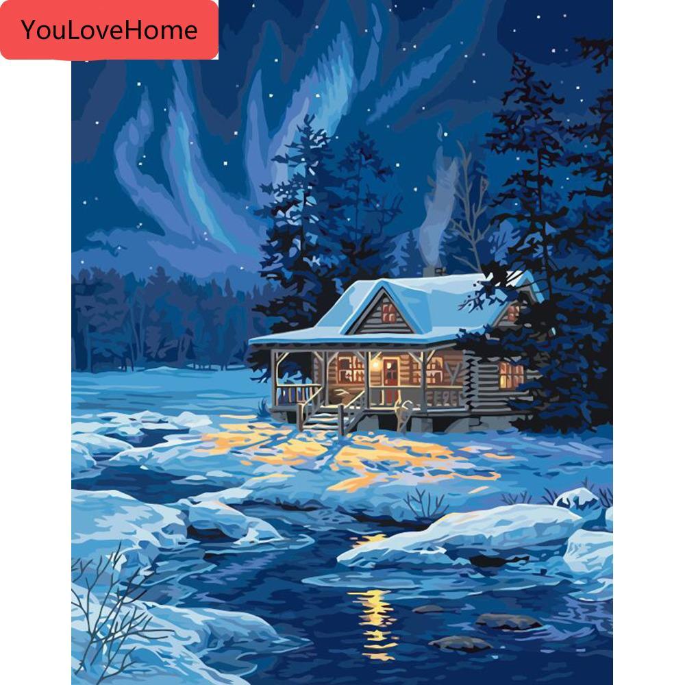 Pintura al óleo por números paisaje de la nieve del paisaje Kits lienzo de dibujo pintado a mano de bricolaje Fotos de invierno Arte decoración del hogar