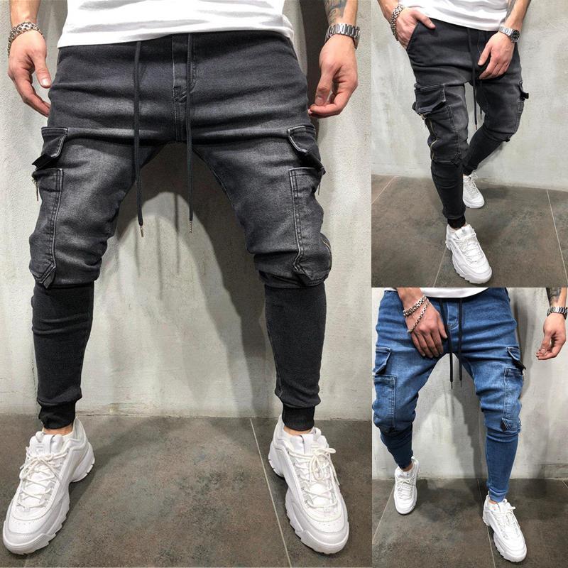 Yan Kargo Pocket Sıkı Jeans Erkekler Slim Fit Moda Uzun pantolonlar OLOME Erkek Denim Kargo Pantolon Kot Hip Hop