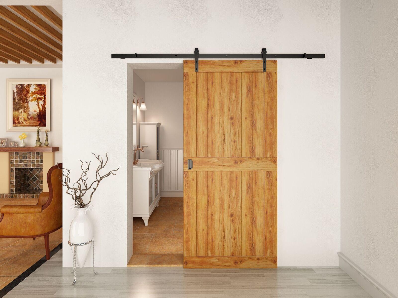 """6'6 """"الكلاسيكية ريفي أسود / القهوة انزلاق الحظيرة الخشب باب الأجهزة الحديثة المسار"""