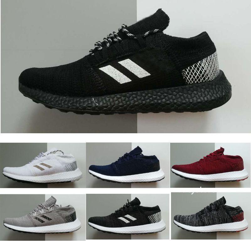 2019 respirar sapatos Pure GO núcleo negro Runner Primeknit Mulheres s MEN S amante s Sports Sneaker