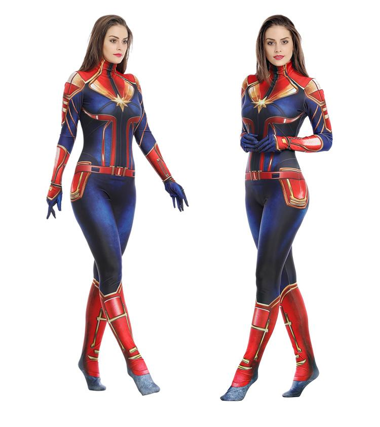 comme l'arrivée de nouveaux filles Captain Marvel cosplay costume enfants superhéros Marvel Mme Carol Danvers Bodysuit Jumpsuit Halloween enfants comme