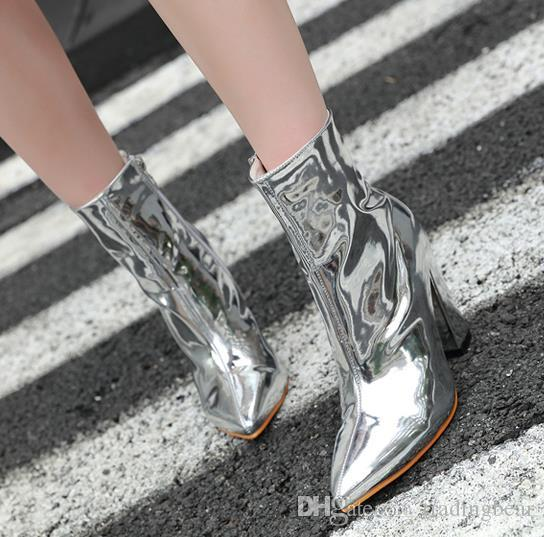 Silver Patent Pu Leather Pointed Block Heels Ankle Boots Women Designer Shoes Size 34 To 40