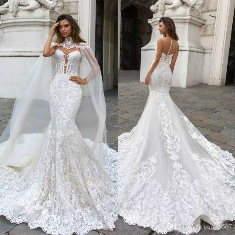케이프 쉬어 플 런지 넥 보헤미안 웨딩 드레스와 함께 새로운 화려한 인어 레이스 웨딩 드레스 Appliqued 플러스 사이즈 브라 Vestidos 드 Novia