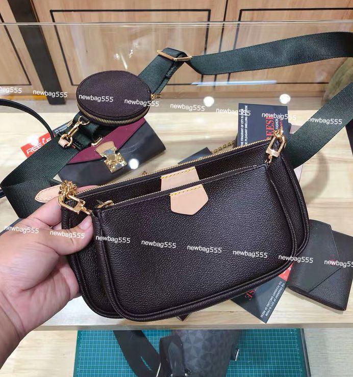 Женщины любимой мини Pochette мешок 3 шт аксессуары Crossbody мешок vintag мешки плечо m44823 окислительных кожаные кошельки многоцветной ремни