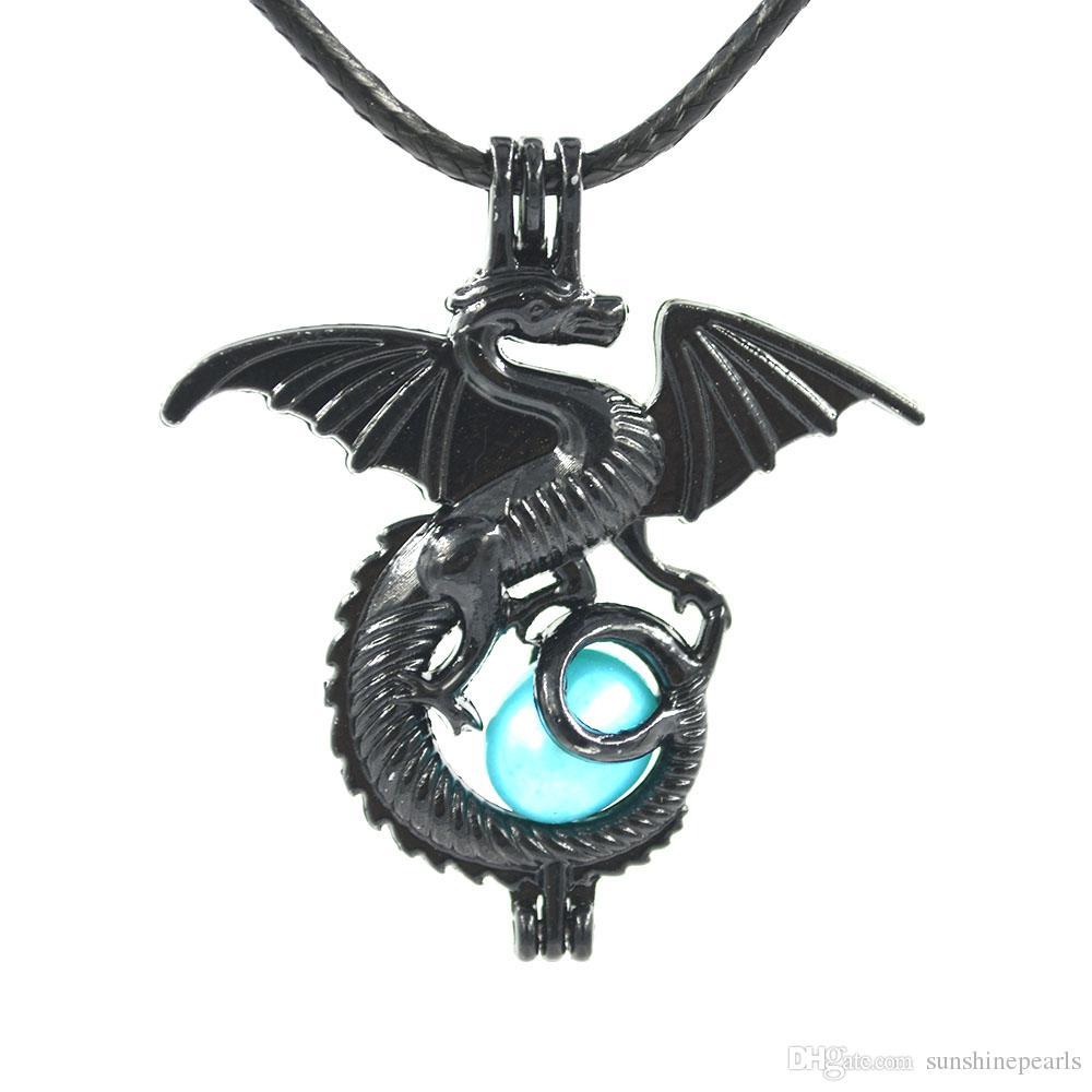 Encantos Negro Dragón La pequeña perla pulsera del collar aptos del grano jaula pendiente del Locket joyería que hace el envío libre