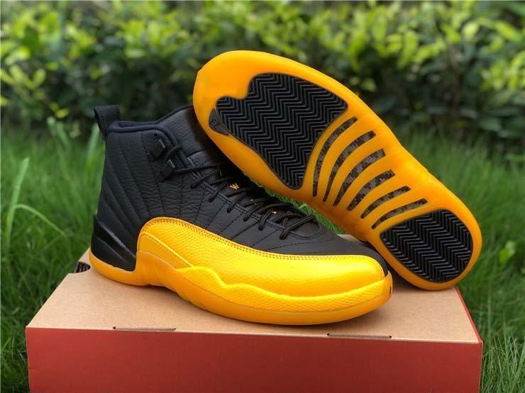 Hottest Air autentici 12 Università PE scarpe d'oro di pallacanestro degli uomini neri 12S reale in fibra di carbonio Retro Sneakers Sport 130690-070 con la scatola