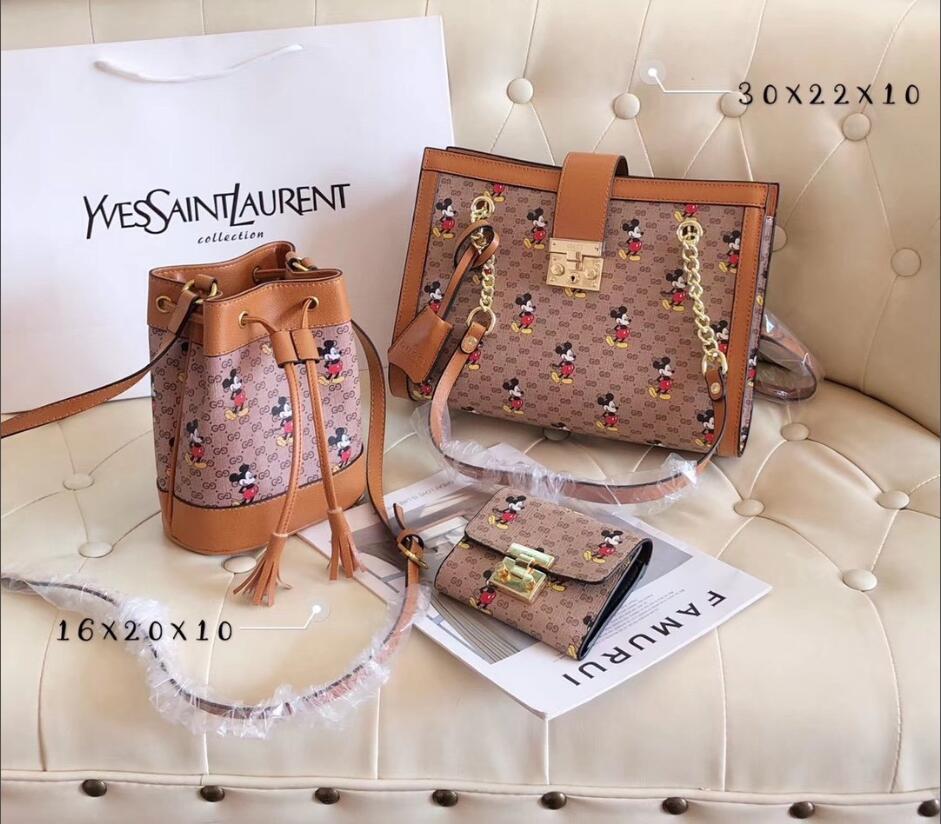Mochila de Moda Das Senhoras, ao estilo europeu e Americano, saco de balde de 3 peças, saco de estafeta, saco de estafeta, mochila de mulher.