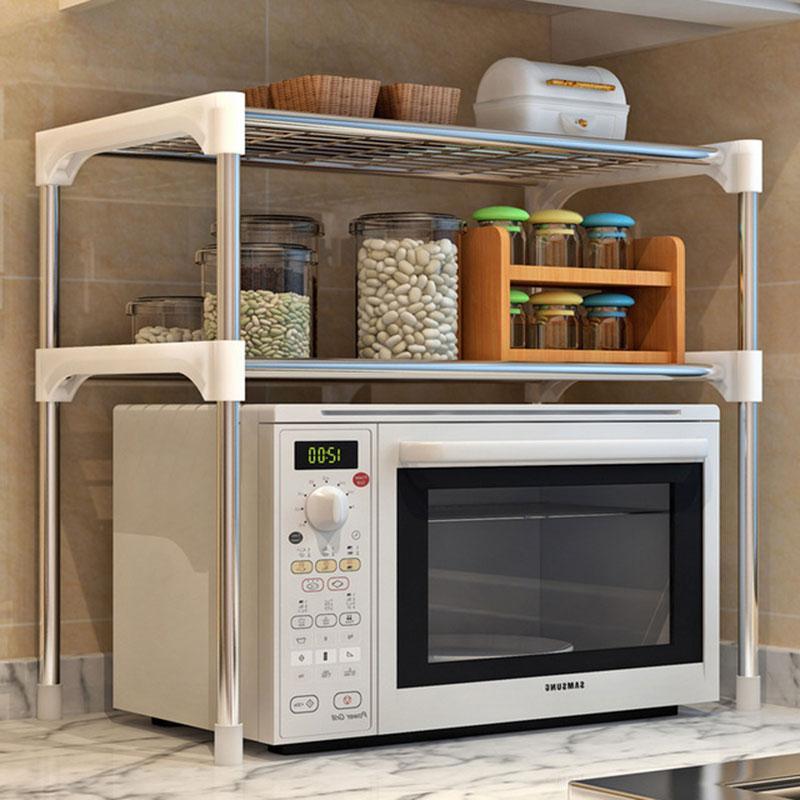 Verstellbare Edelstahl Mikrowelle Regal Abnehmbare Rack-Küche Geschirr Regale Home Bad Storage Rack-Halter