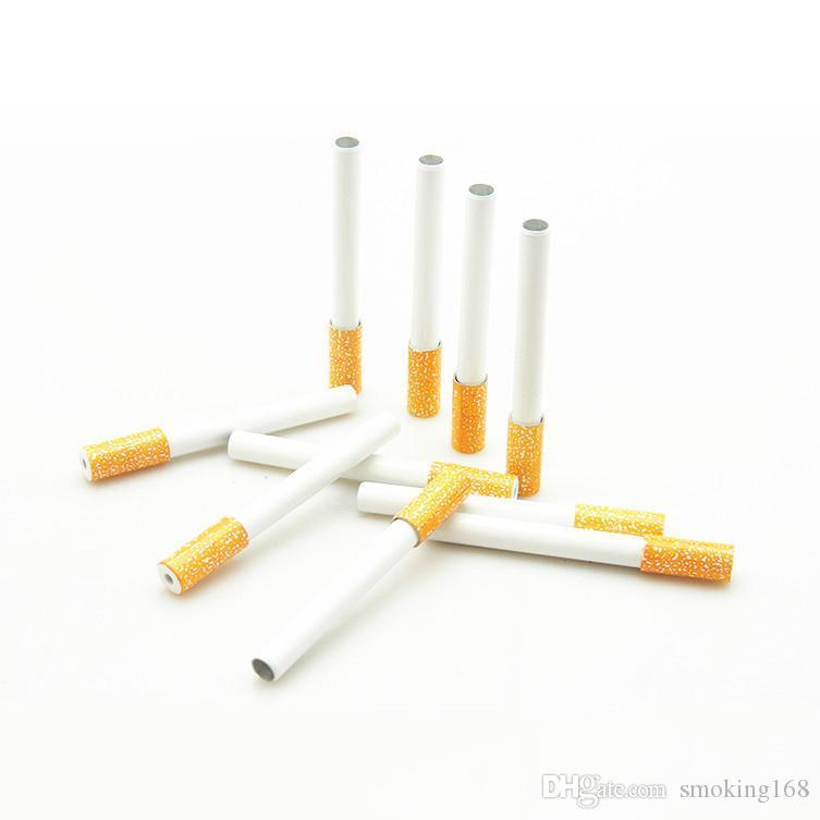 ressort métallique fumant la pipe Porte-cigarette Cigarettes en alliage d'aluminium Pipe Accessoires un tuyau cogneur Snuff Sniffer Paille
