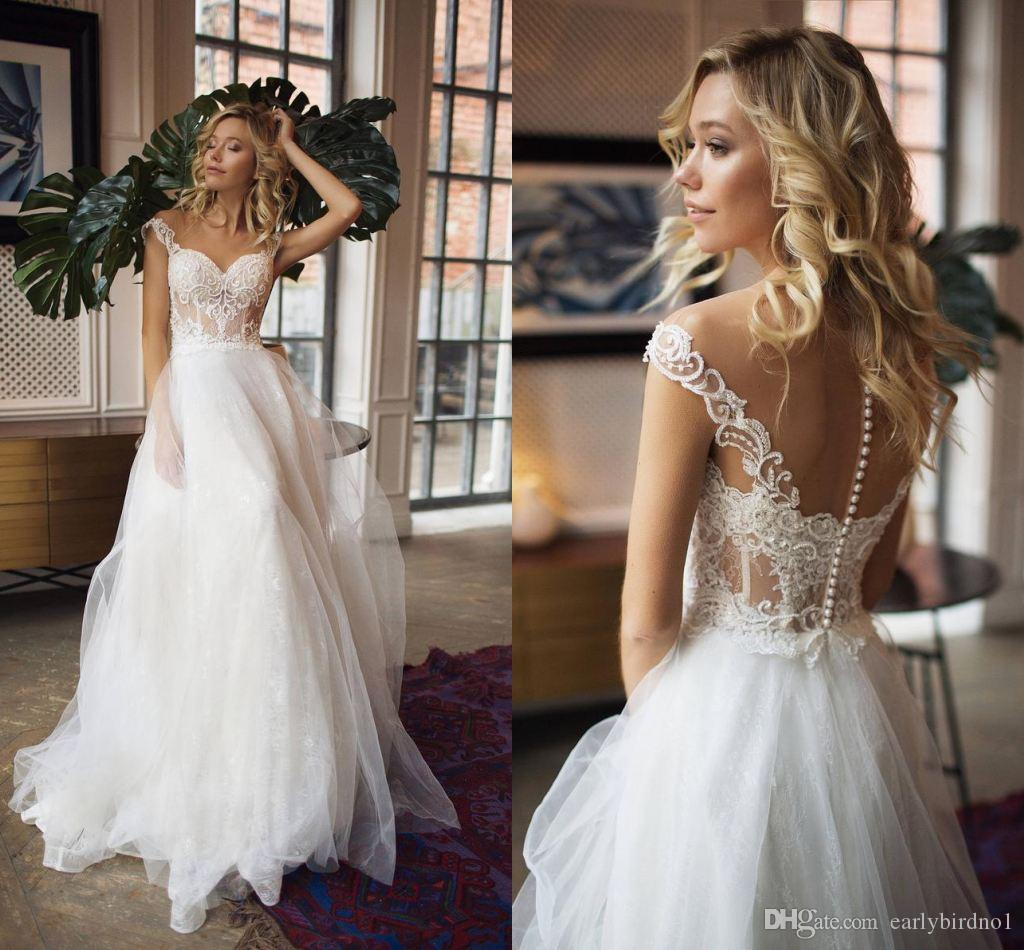 Старинные кружева аппликация a-line богемный тюль свадебное платье роскошь с плеча чистой спиной пляж бохо плюс размер свадебное платье