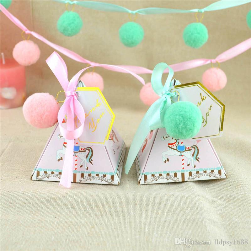 100 adet / grup Unicorn Parti Hediye için Carousel Şeker Kutusu Bebek Duş Doğum Günü Düğün Parti Süslemeleri Hatıra Konuk Iy ...