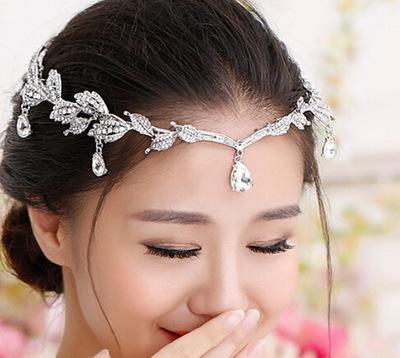Vintage Crystal Bridal Hair Accessory Wedding Rhinestone Waterdrop Leaf Tiara Crown Headband Frontlet Bridesmaid Hair Jewelry D19011103