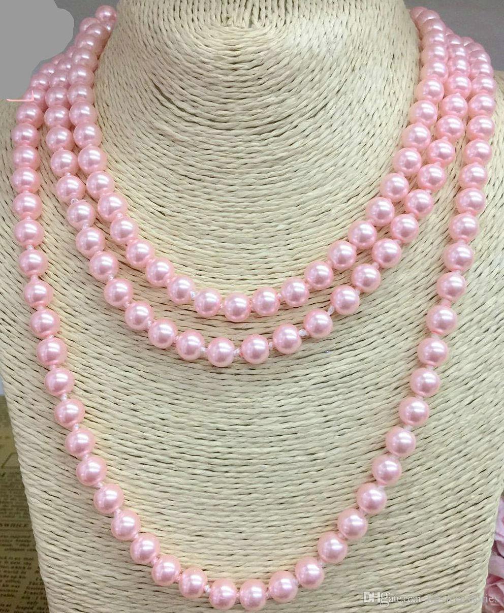 Single Long Strand 8MM Imitación de perlas de imitación HANDCRAFT KNOTTED Collar Joyería Regalo Moda Mujeres Cadena Joyería fina para mujeres