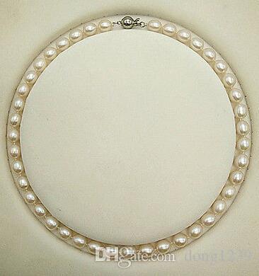 7-8mm South Sea 17 pollici collana di perle bianche spilla in argento 925