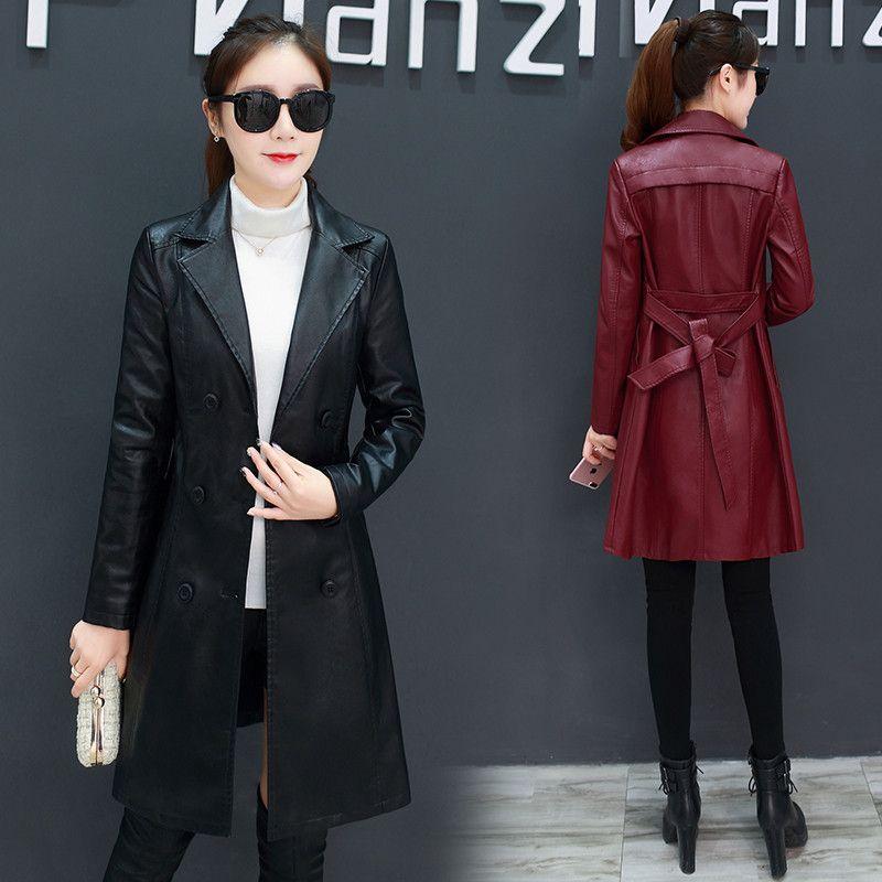 2020 New Korean Spring Autumn slim Long Trench Coat Women fashion casual PU Leather Coats Female Overcoats M157