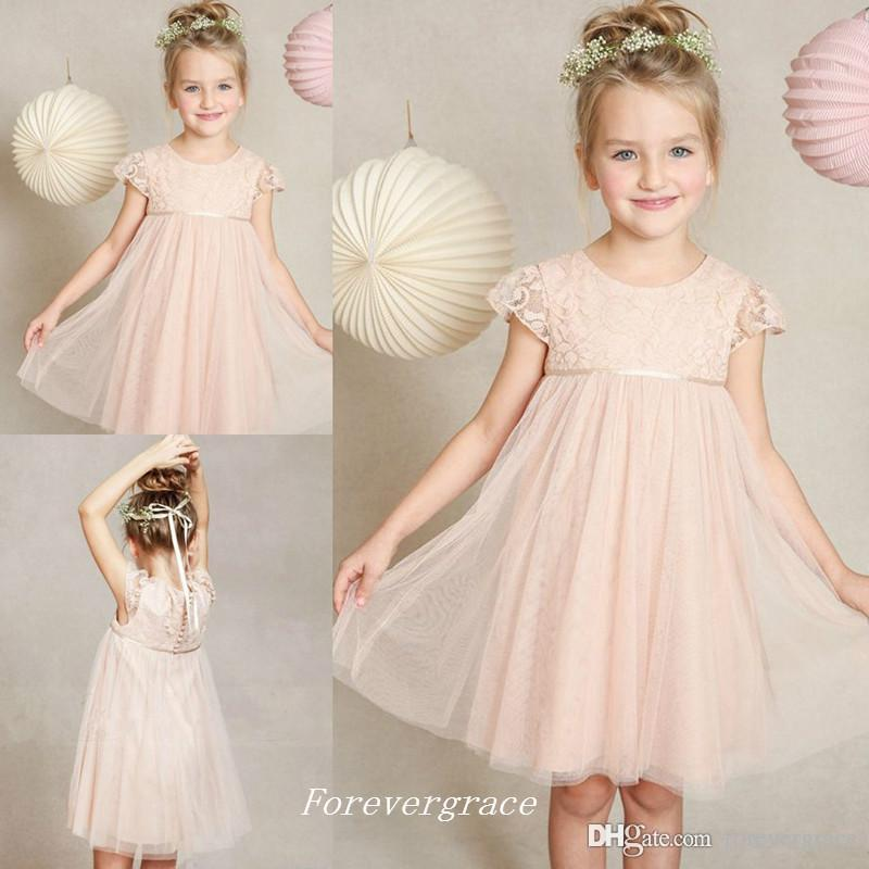 2019 Beautiful Tulle Pink Kids Ball Gown Cute Girl's Pageant Dresses First Communion Dress Lace Flower Little Girls Dress