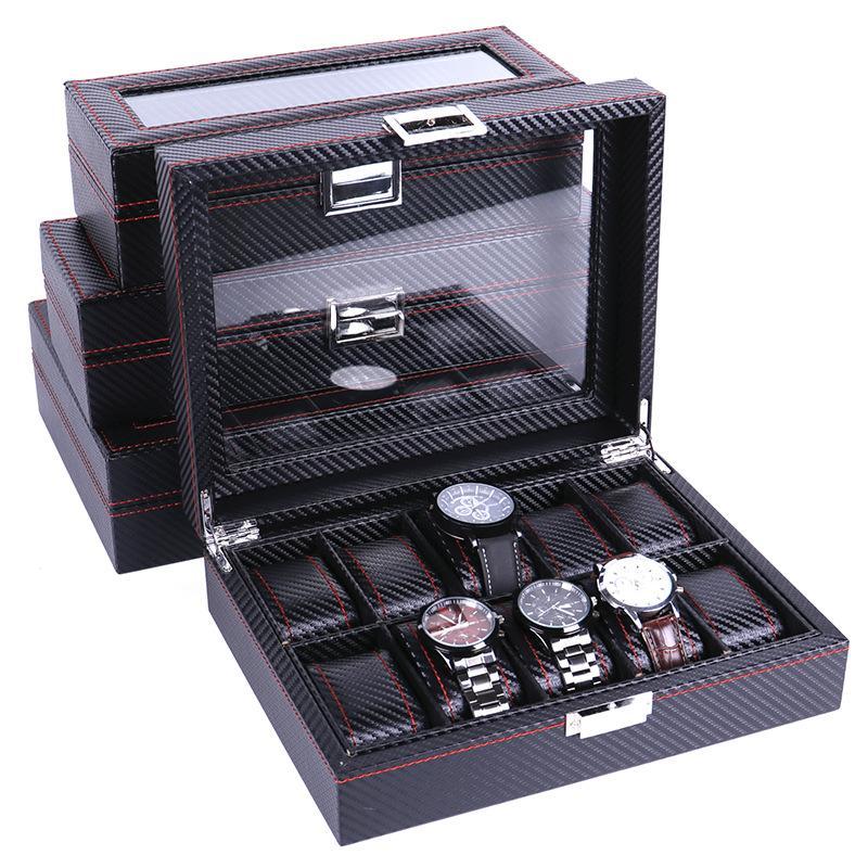 Haute fibre de carbone 5 6 10 12 Grille Coffret Montre affichage Boîte de rangement Bracelet affichage Machines à sous Porte- Conteneur