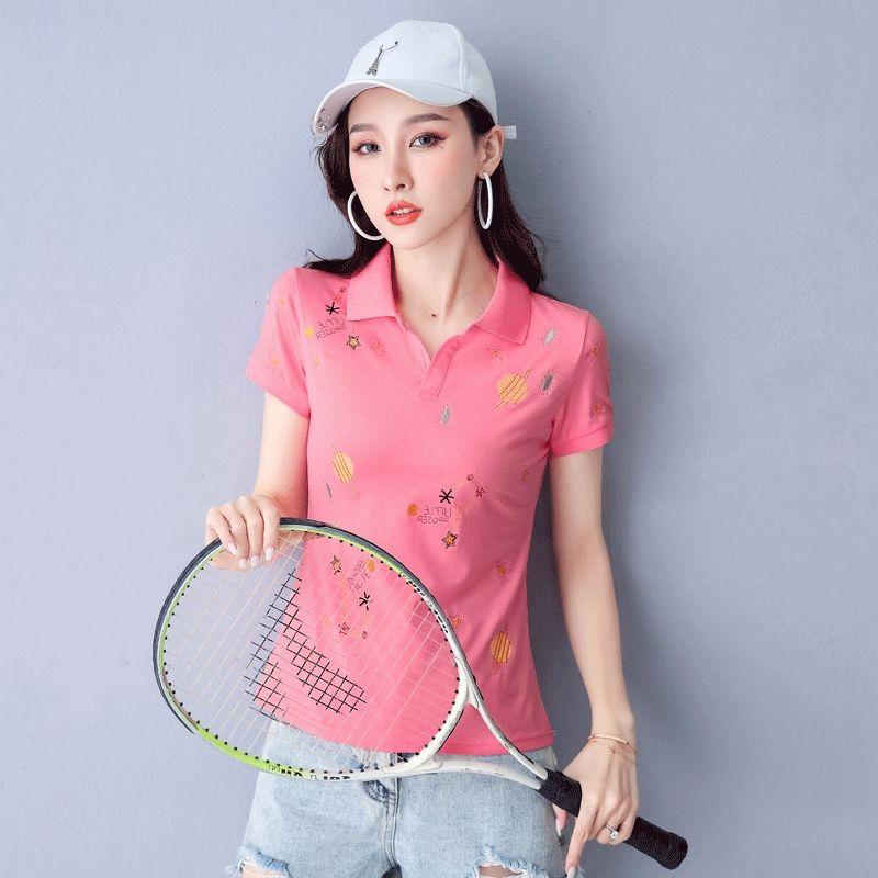 camisa 2020polo Top bordado manga curta camisa das mulheres bordadas fino tamanho superior lapela esportes T-shirt ocasional