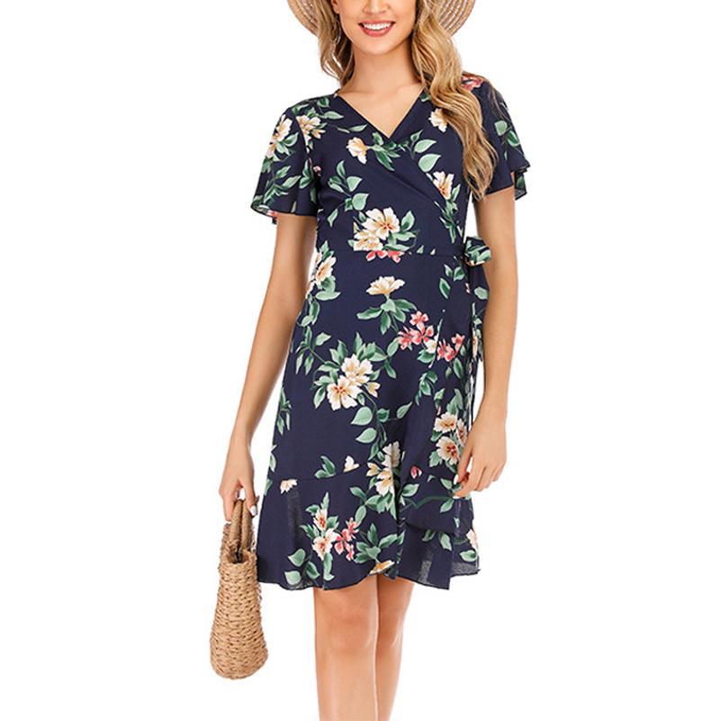New Fashion Stampato Abito estivo Donne Donne Sexy Wrap Dress V Scollo floreale Manica corta Mini Summer Dress Vestidos MT2910 Ackma