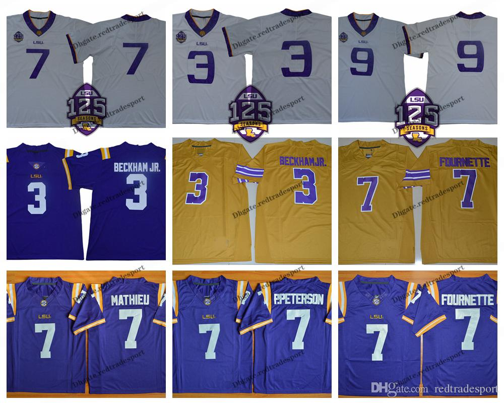 2018 LSU Tigers 125th 9 Joe Burrow 3 Odell Beckham Jr. 7 Leonard Fournette Patrick Peterson Tyrann Mathieu College Jerseys
