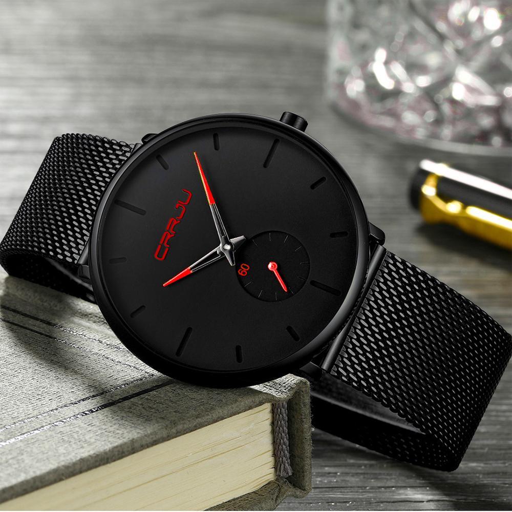 Crrju Watch Men Top Brand Luxury Quartz Watch Casual Quartz-watch Stainless Steel Mesh Strap Ultra Thin Clock Male Relog Y19052004