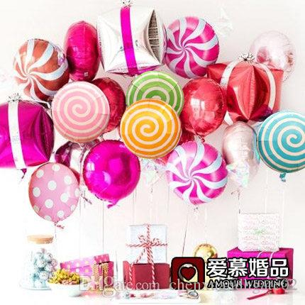 2018 new cute colorful candy foil balloons 18 inch round lollipop aluminum balls wedding birthday baby party decoration