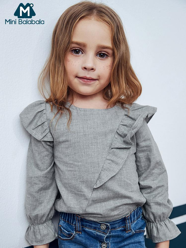 미니 Balabala 키즈 걸스 주름 장식 트리밍 블라우스 코튼 어린이 유아 여자 봄 가을 셔츠 티셔츠 의류 의류 T200229 탑