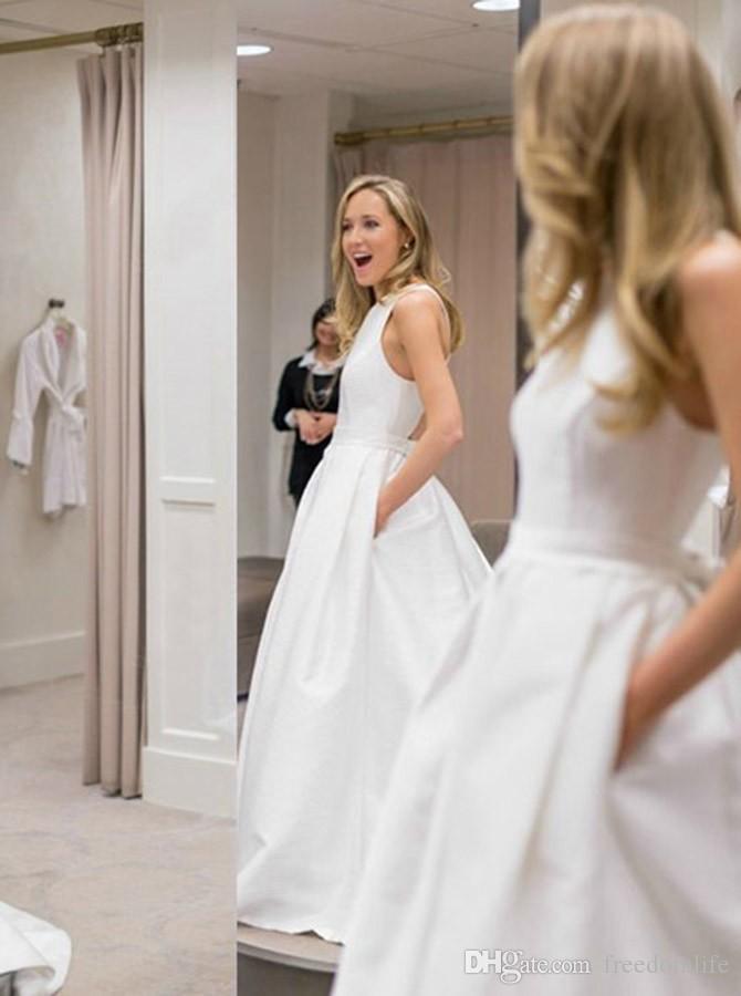 Vestidos de noiva brancos elegantes com bolsos cruz cruzam cetim 2019 costume vestidos de noiva feitos sob encomenda