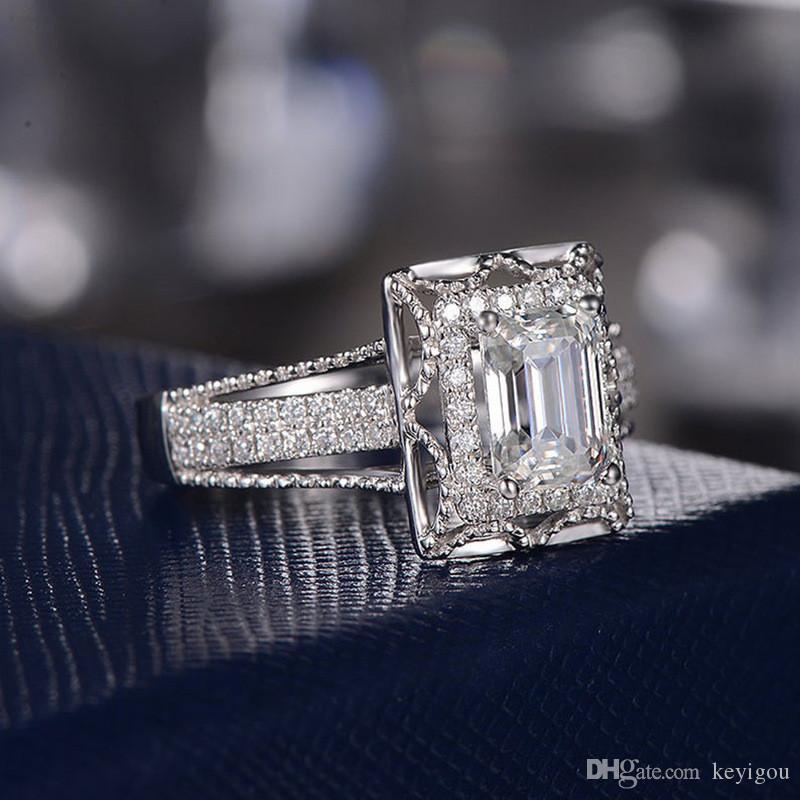 Kadınların 925 ayar gümüş moda Kadın Düğün Band Yüzük Nişan Gelin Takı Classic Promise Yüzük