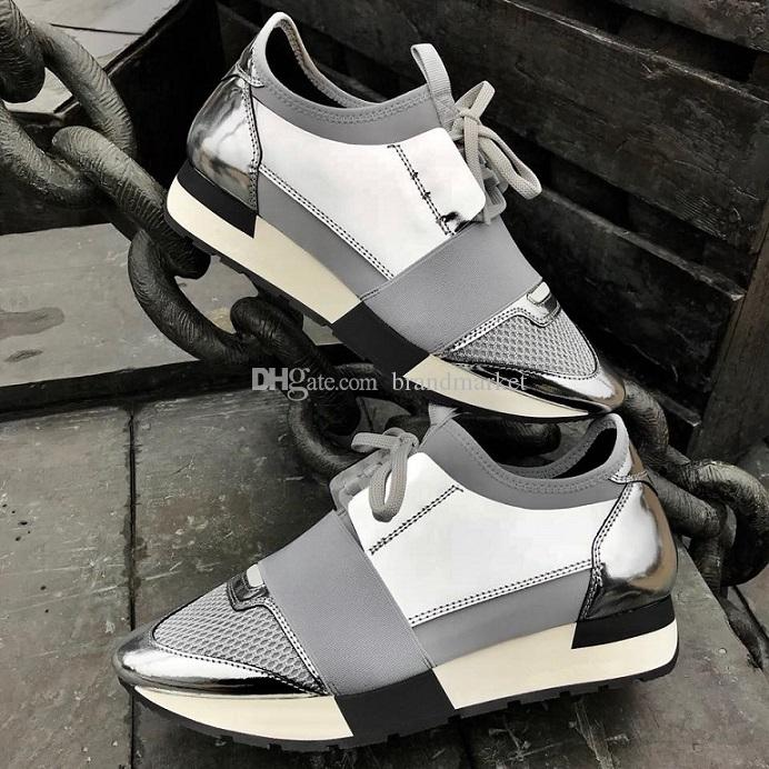 New Designer Shoe Man Casual Woman Sneaker Fashion Pointed Toe Mixed Colors Silver Black Strap Leather Mesh Trainer Shoes Drop Shipping