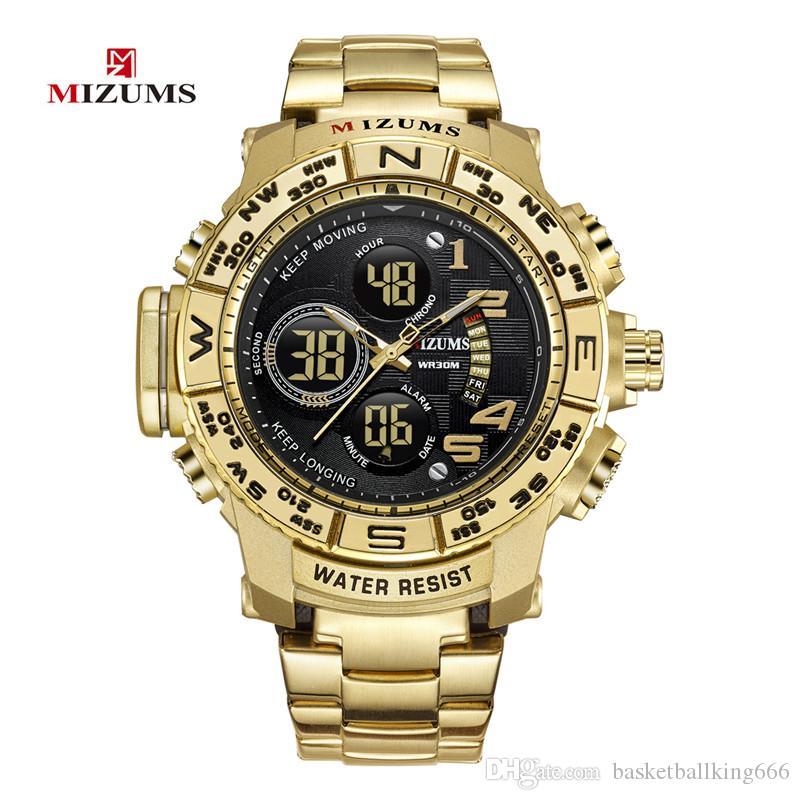 Mizums бренд кварцевые часы Мужские спортивные часы мужчины Стальной браслет часы водонепроницаемый золото светодиодные цифровые часы Relogio Masculino