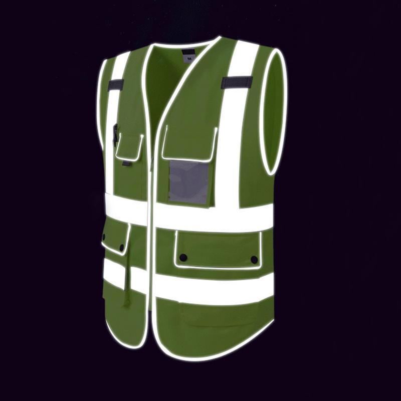 Warnweste High Visibility Multi Taschen Sicherheit Warnung Kleidung für Arbeiten im Freien Radfahren Laufen Sport Sicherheitswesten T190622