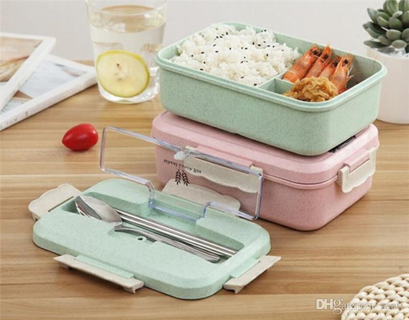 New Home Microwave Lunch Box Wheat Straw Dinnerware Food Storage Container Children Kids School Office Portable Bento Box